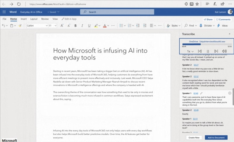 Microsoft audio transcripción