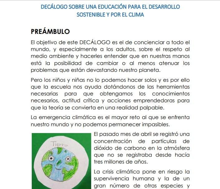 Décalogo educación y medioambiente. Gobierno de España.