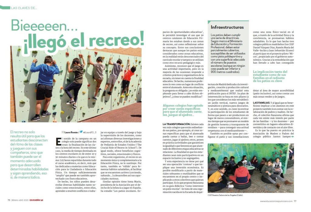 llegó el recreo 37 de la Revista EDUCACIÓN 3.0