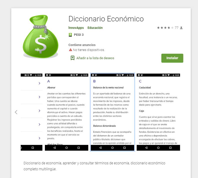 App diccionario de Economía