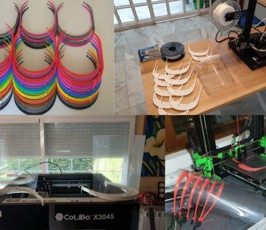 Viseras fabricadas con impresoras 3D de diferentes centros