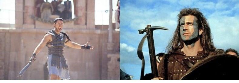 Gladiator y Braveheart - peliculas históricas