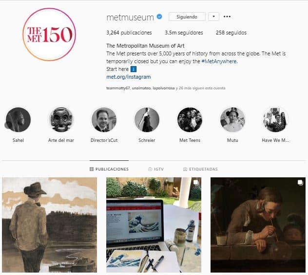 Perfil de instagram del MET