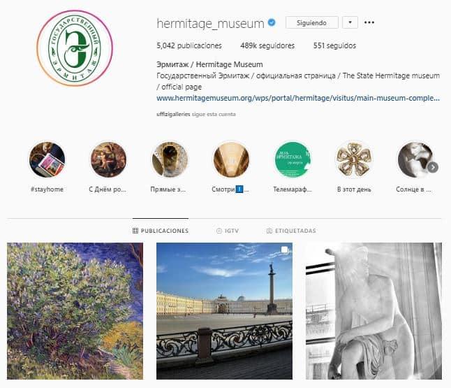 Perfil de instagram del museo Hermitage