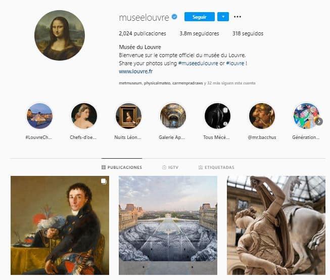 Perfil de instagram del Louvre (París)