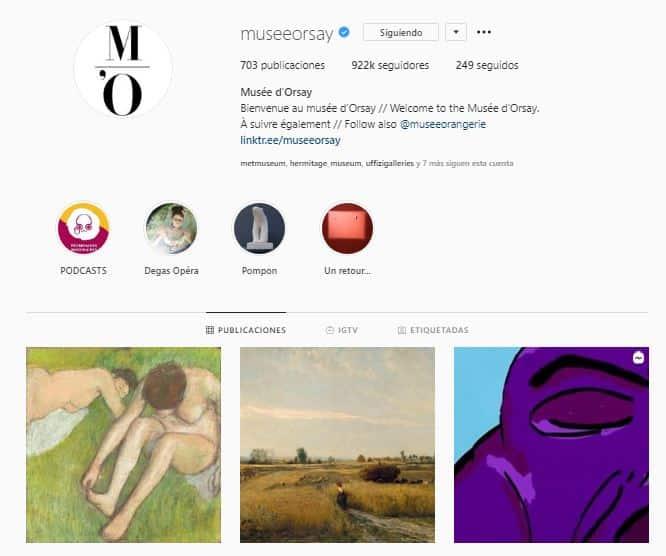 Perfil de instagram del museo de Orsay