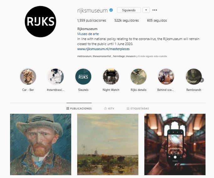 Perfil de instagram de Rijksmuseum