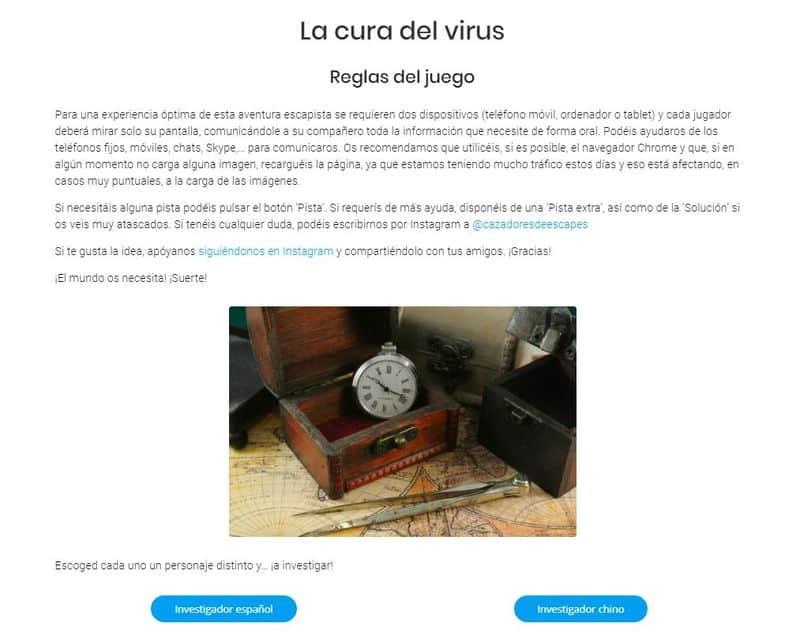 Escape: la cura del virus escape rooms virtuales gratuitos