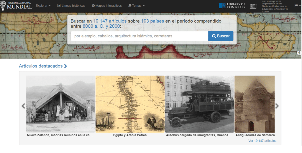Bibliotecas online Digital Mundial