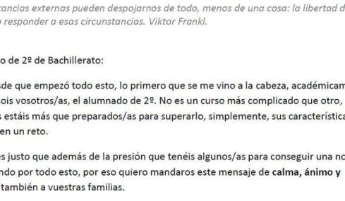 carta alumnado Bachillerato