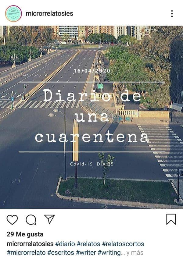 Diario de una cuarentena- Microrrelatosies escritura creativa Instagram