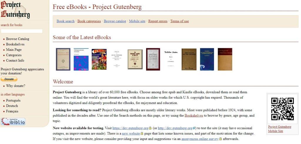 Proyect Gutenberg, Bibliotecas online