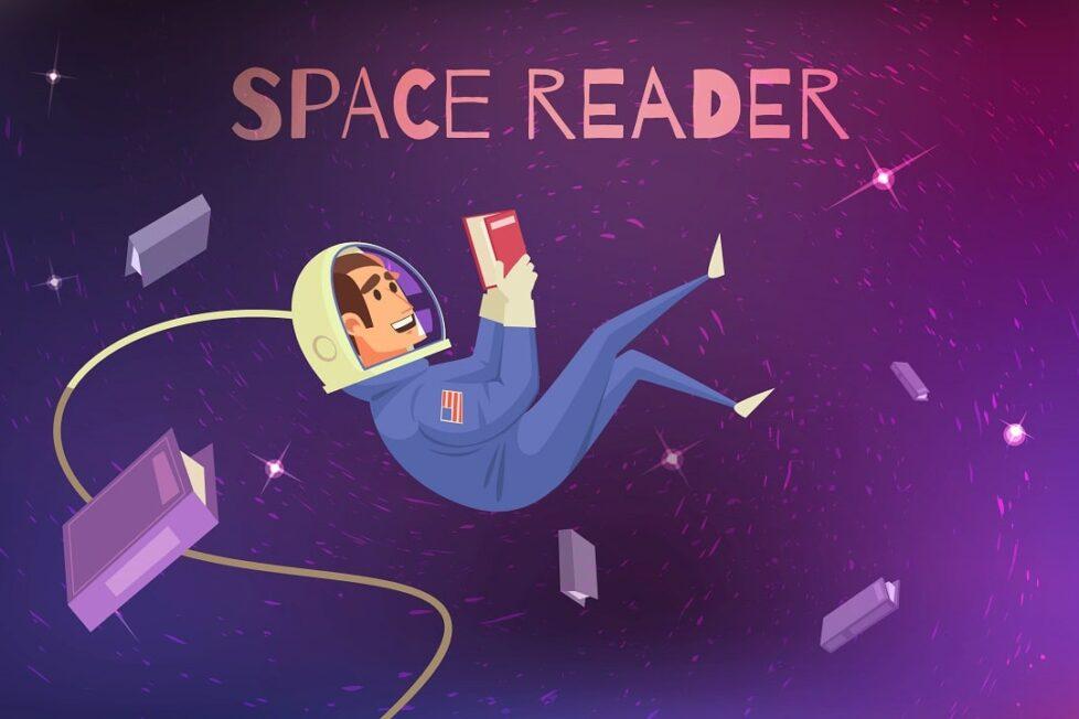 astronauta lee en el espacio