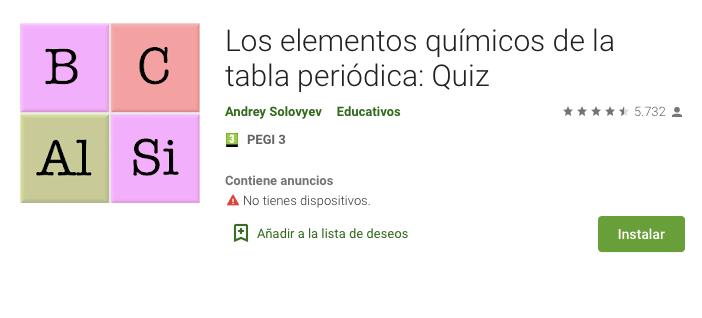 Apps tabla periódica
