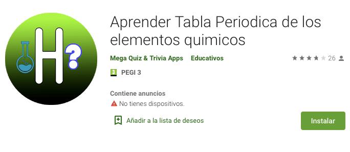 App aprender tabla periódica