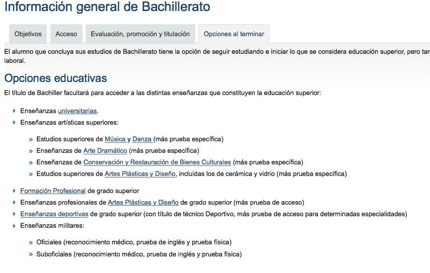 Información general de Bachillerato