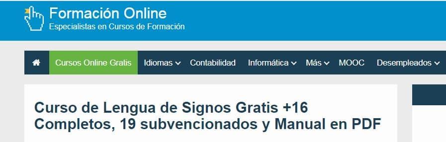 Curso de lengua de signos gratis Formación Online