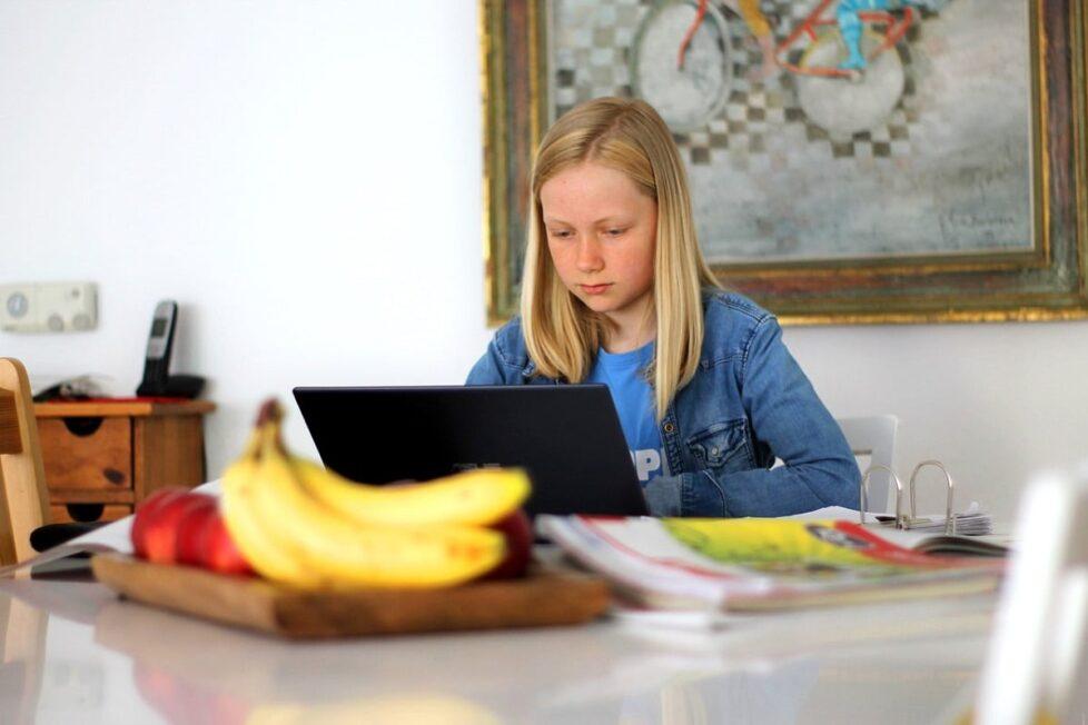Una niña estudia en casa por ordenador