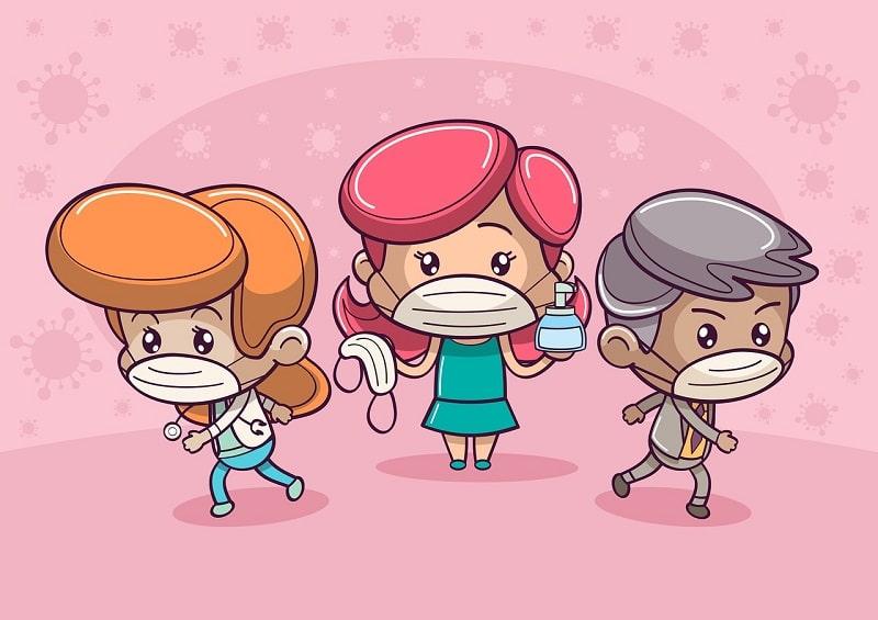 Ilustración de niños con mascarilla y gel desinfectante