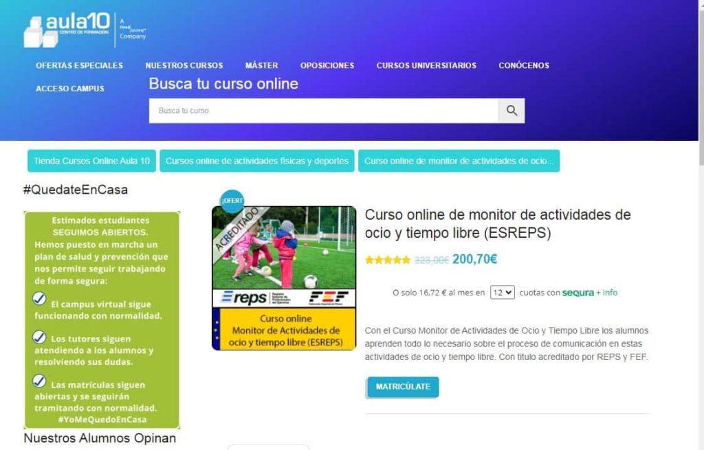 Curso Online de Monitor de Actividades de Ocio y Tiempo Libre Aula 10