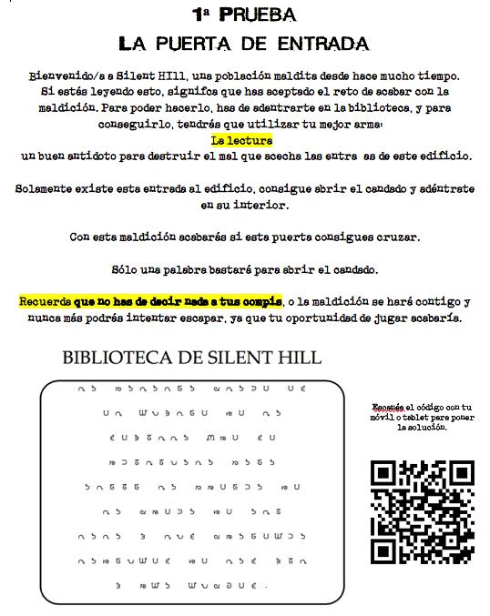 Prueba del proyecto silent hill biblioteca en el aula para fomentar la lectura