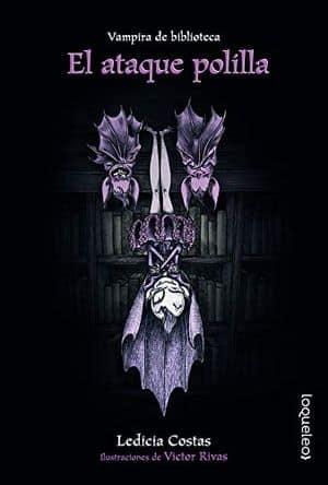 Vampira de biblioteca. El ataque polilla libros Halloween