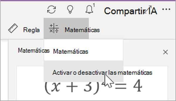 Activar o desactivar el Asistente para Matemáticas en OneNote
