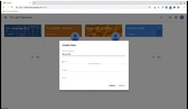 Google Classroom crear una clase