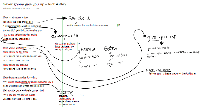 Song Analysis música en clase de Inglés