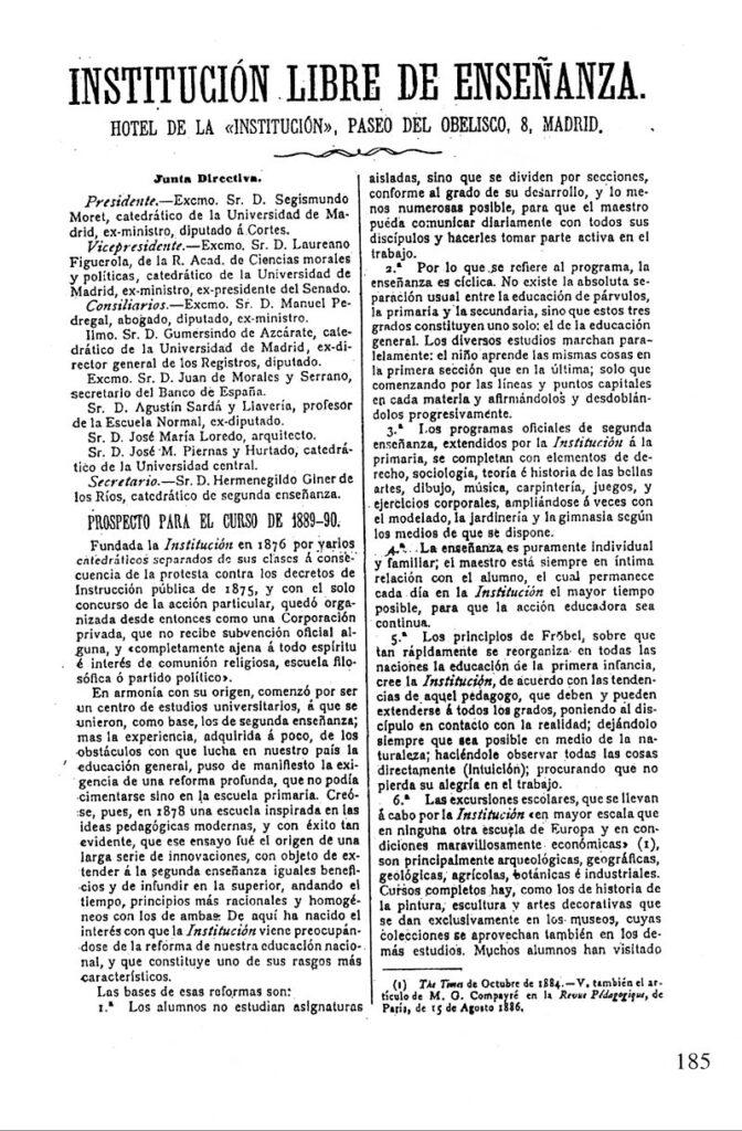 Anuncio de la Junta Directiva de la ILE para el curso 1889 1890