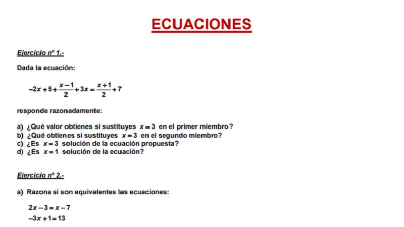 Ficha ecuaciones en Secundaria