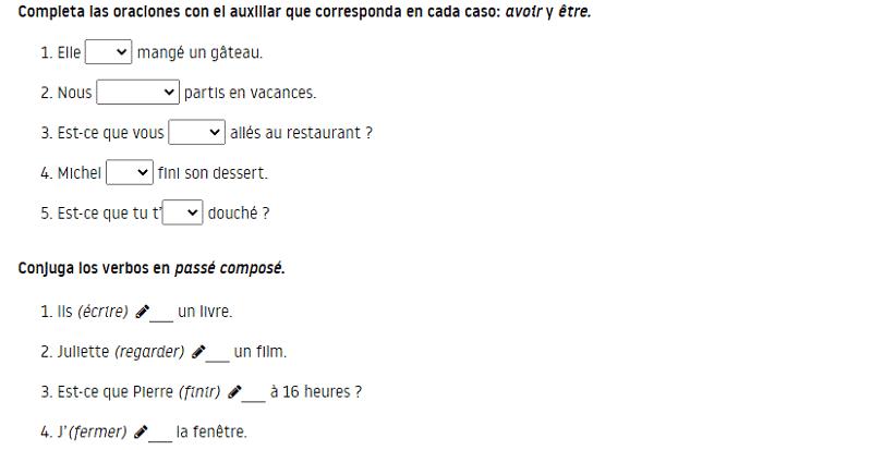 Ejercicios verbos en pasado en francés