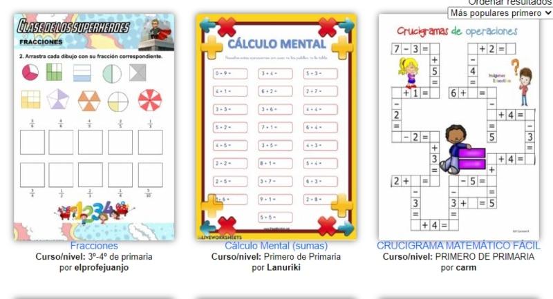 Fichas Imprimibles E Interactivas Para La Asignatura De Matemáticas