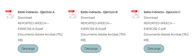 Ejercicios 'reported speech'