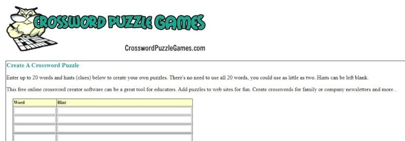 Crossword puzzle games