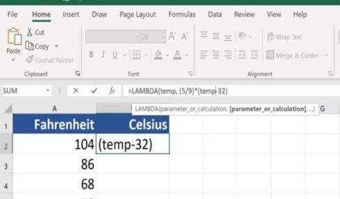 LAMBDA Excel