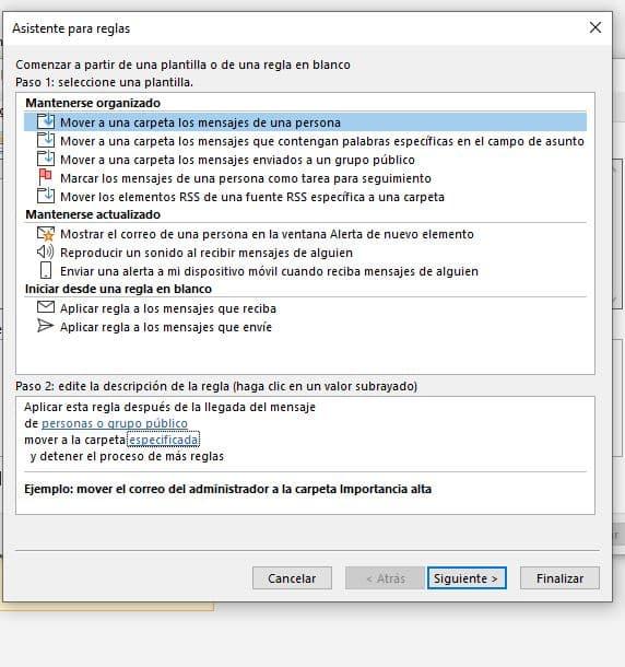 Reglas Microsoft Outlook