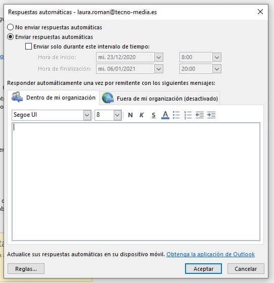 respuestas automáticas Outlook