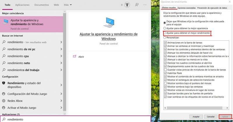 Ajustar la apariencia y rendimiento de Windows - optimizar la velocidad de un PC