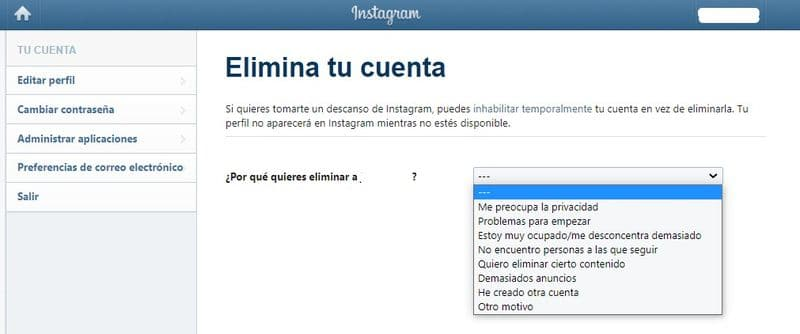 Eliminar para siempre tu cuenta de Instagram