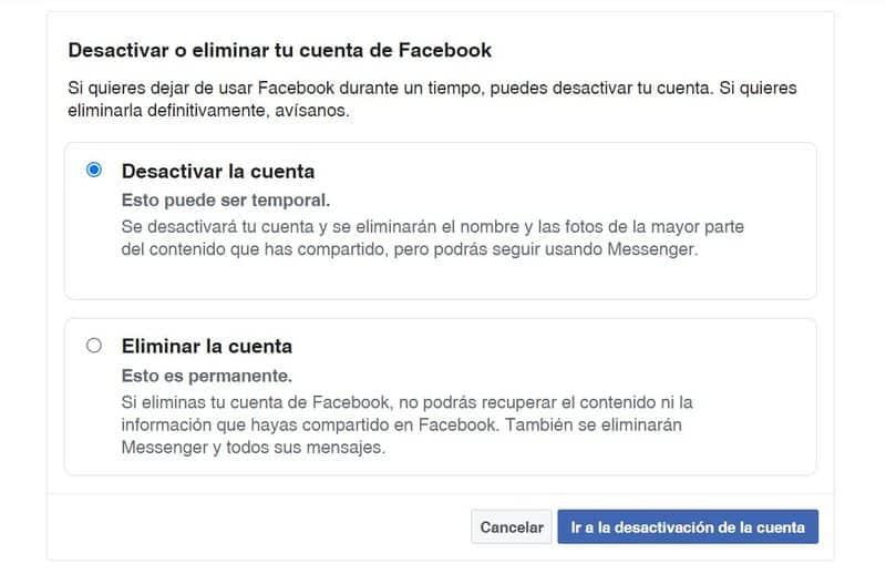 Desactivar o Eliminar una cuenta de Facebook