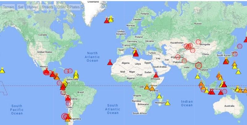 Mapa volcanes activos