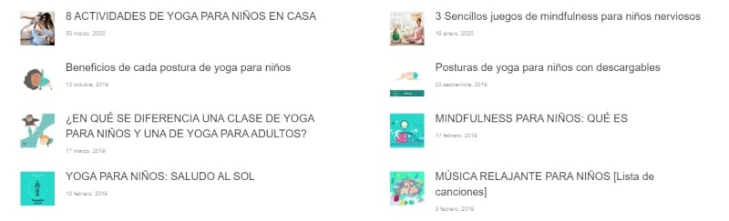Blogs sobre yoga infantil